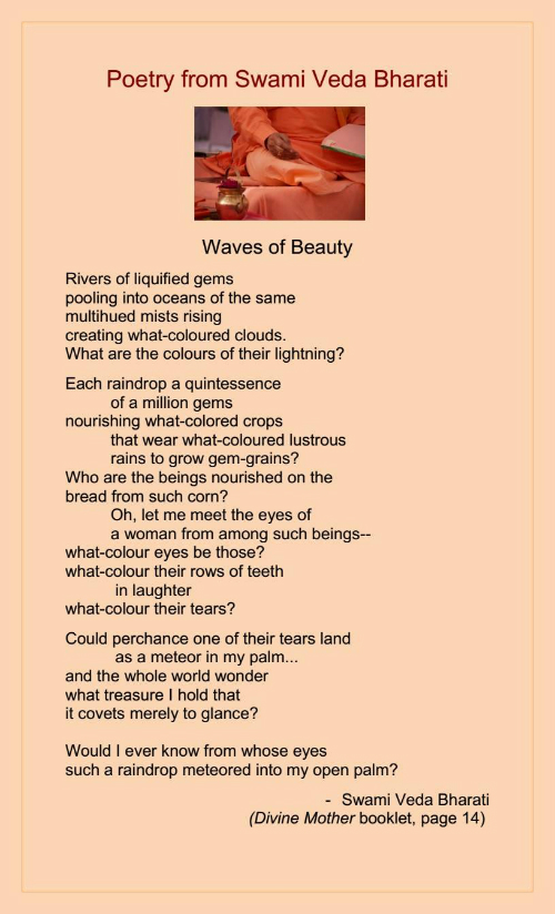 Waves of Beauty poem by Swami Veda