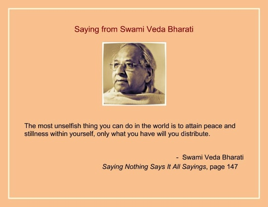attain peace by swami veda bharati