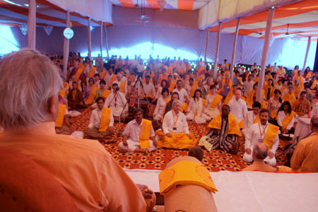 A view of the sangha gathering at Swami Rama Sadhaka Grama